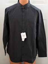 NEW Calvin Klein Black Gray Plaid Long Sleeve Button Down Cotton Shirt Size M