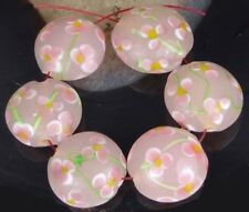 Lampwork Handmade Glass Beads  Pink Flower Lentil  (6)