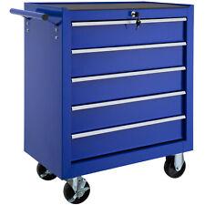 Chariot d'atelier 5 tiroirs à outils servante caisse à roulettes atelier bleu