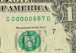(( THREE DIGIT )) $1 2017 (( 00000687 ))  FANCY LOW SERIAL NUMBER CURRENCY