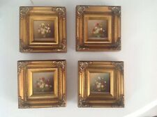 Lovely Vintage Miniature Oil Paintings X4 of Flowers Mounted Gilt Frame Signed,