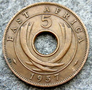 EAST AFRICA ELIZABETH II 1957 5 CENTS COLONIAL