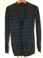Theory Grigio Blu a Righe Pullover Maglione Cardigan P Petite XS S SMALL NUOVA
