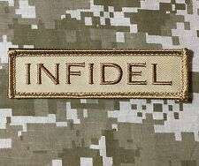 INFIDEL USA ARMY MORALE ROCKER TAB BADGE DESERT VELCRO® BRAND FASTENER PATCH