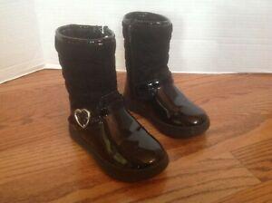 Carter's BONITA Toddler Girls BOOTS Size 7 Black Patent & Quilting VGC Darling!