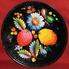 Vintage metal tin floral flowers plate