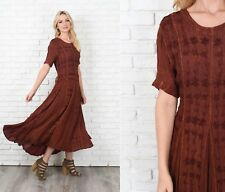 Vintage 90s Brown Grunge Dress Flower Floral maxi Slouchy Small Medium S M