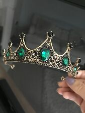 Gold /green Tiara . Green Crystsl Tiara . Wedding /stage Tiara