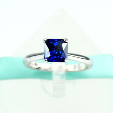 Sterling Silver Engagement Ring Solitaire Square Blue Sapphire 925