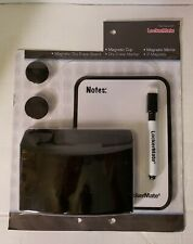 Lockermate 5 Piece Set with 2 Magnets Cup Dry Erase Board & Pen Black
