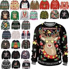 Damen Herren Ugly Weihnachten Santa Xmas Pullover Shirt Sweatshirt Christmas DE