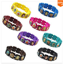 6 Pcs Hot Sell Wood Jesus Bracelet Wooden Saints Rosary Religious Multi Color