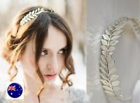 Women Girl Bride Metallic Gold or Silver Leaf party hair head band Hoop Crown