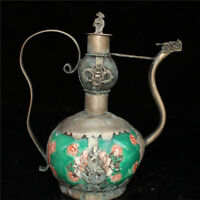 "5.51""Exquisite Chinese copper Hand painted Dragon head Teapot wine pot"