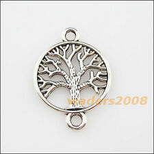 10 New Charms Tibetan Silver Round Tree Pendants DIY Connectors 20x28mm