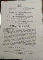 1796 GOVERNO PROVISSORIO MODENA REGGIO CONTADINI CHE RIFIUTANO LA GUARDIA CIVICA