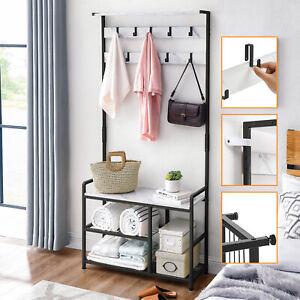 Coat Stand Hallway Shoe Storage Rack Bench 185cm Freestanding Hanger Shelves UK