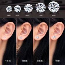 PAIR Men Women 925 Sterling Silver Solitaire Round Cubic Zirconia Stud Earrings