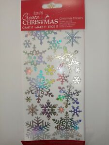Docrafts SNOWFLAKE STICKERS XMAS festive x25 silver card making craft