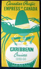 EMPRESS OF CANADA -- Mini Brochure, 1963-64 Cruises -- Canadian Pacific
