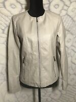 WOMENS KENNETH COLE REACTION IVORY FAUX LEATHER ZIP UP MOTORCYCLE JACKET SMALL