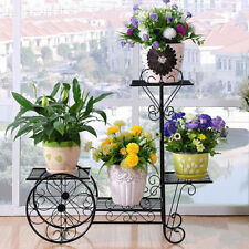 Outdoor Indoor Pot Plant Stand Garden Metal 4 Tier Planter Shelves Black Cart