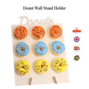 9-Donut Wall Stand Wooden Doughnut Sweets Candy Birthday Party Wedding Décor UK
