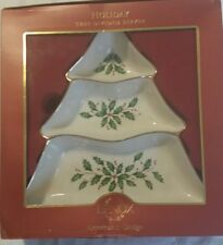 Lenox Holiday Holly Christmas Tree Three Section Divided Server NIB MSRP $80.00
