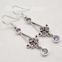 Fine Silver 925 Natural AMETHYST Multi Mix Stones LONG Drop Earrings 2 inches