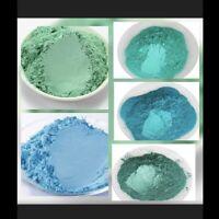 5 x Effektpigment Metallicpigment auch Epoxidharz, Pouring, Acryl Blaugrünset 1