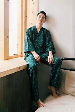 New Mens Chinese Japanese Oriental Floral Green Long Kimono Pyjamas menpjs37