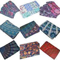 Indian Handmade Kantha Quilt Queen/ Twin Mandala Bedsheet Cotton Bedspread Throw