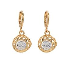 Nice New 18K Yellow Gold Filled Round Clear White Framed CZ Drop Dangle Earrings