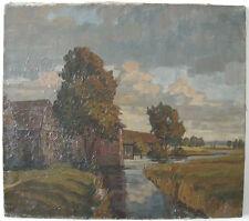 Erwin Steiner (1893-1953) Dorf an Bachlandschaft Öl auf Leinen sign 1927
