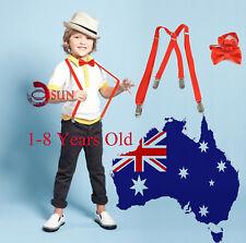 BOYS KIDS RED Braces Elastic 15mm Skinny Suspenders Bowtie Bow Tie X-BACK