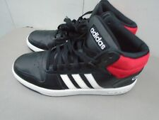 adidas HOOPS 2.0 MID Black/White/Red Leather Basketball Shoes Men Size 12