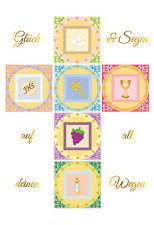 Einladungskarte zur Konfirmation / Kommunion / Taufe mit Goldprägung + Umschlag