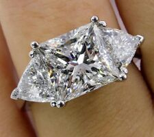 4.35 Ct Princess Cut Near White Moissanite Engagement Ring 925 Sterling Silver