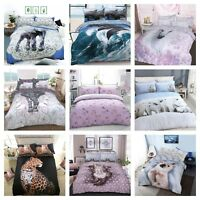New Various Animal Print Duvet Cover Bedding Quilt Set And Pillowcases All Sizes