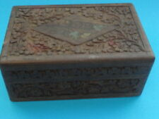 MIDDLE EASTERN CARVED WOOD +  INLAY TRINKET BOX ANTIQUE
