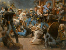 Fight at the Watering Hole by Andy Thomas Western Print Cowboys Saloon