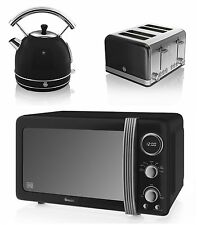 NEW Swan Kitchen Retro Set -BLACK Microwave,1.7L Dome Kettle & 4 slice Toaster