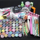Nail Art Kit Acrylic Powder Liquid Glitter UV Gel Glue Tips Brush Set AU Stock