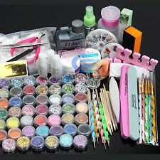 Nail Art Kit Acrylic Powder Liquid Glitter UV Gel Glue Tips Brush Set AU Stock