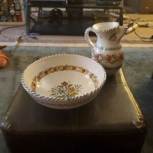 Handmade Bowl and Pitcher Pottery Set