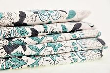 2.5 Yards Handmade Floral Cotton Fabric Voile Hand Block Print Apparel Fabric