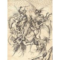 Schongauer Temptation Saint Anthony Engraving Extra Large Art Poster