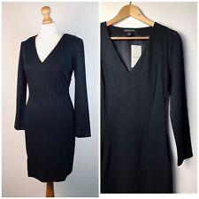 Mango Suit Black V Neck Long Sleeve Bodycon Dress Size M UK 10-12 BNWT