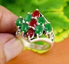 """Ruby Gemstone Turkish Victorian Jewelry Silver Plated Ring Size US 7 1/4"""" GJR822"""