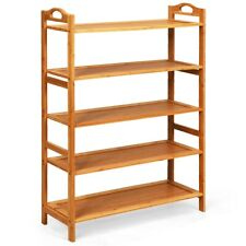 5 Tier Bamboo Freestanding Shoe Rack Lightweight Boots Storage Organizer Natural